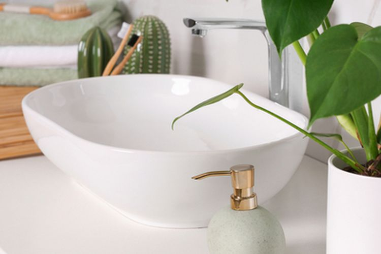 Ilustrasi tanaman hias di dekat wastafel kamar mandi.