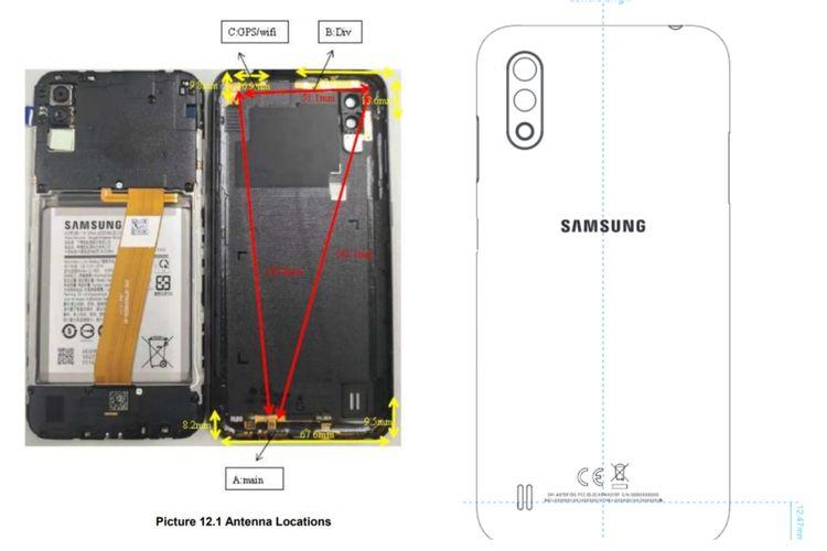 Ilustrasi desain punggung Galaxy A01 dari FCC.