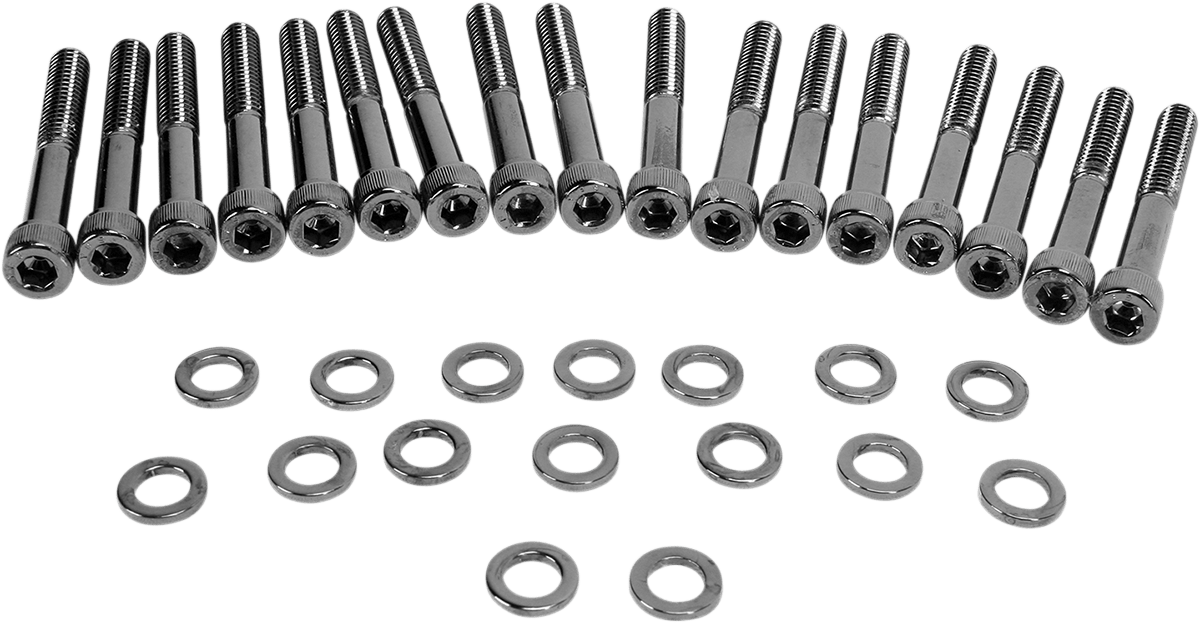 Drag Specialties Black Chrome Primary Cover Bolt Kit 04-17
