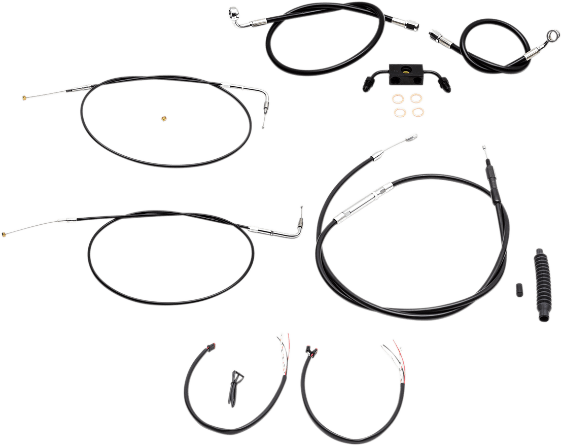 La Choppers Black Ape Hanger ABS Handlebar Cable Kit for