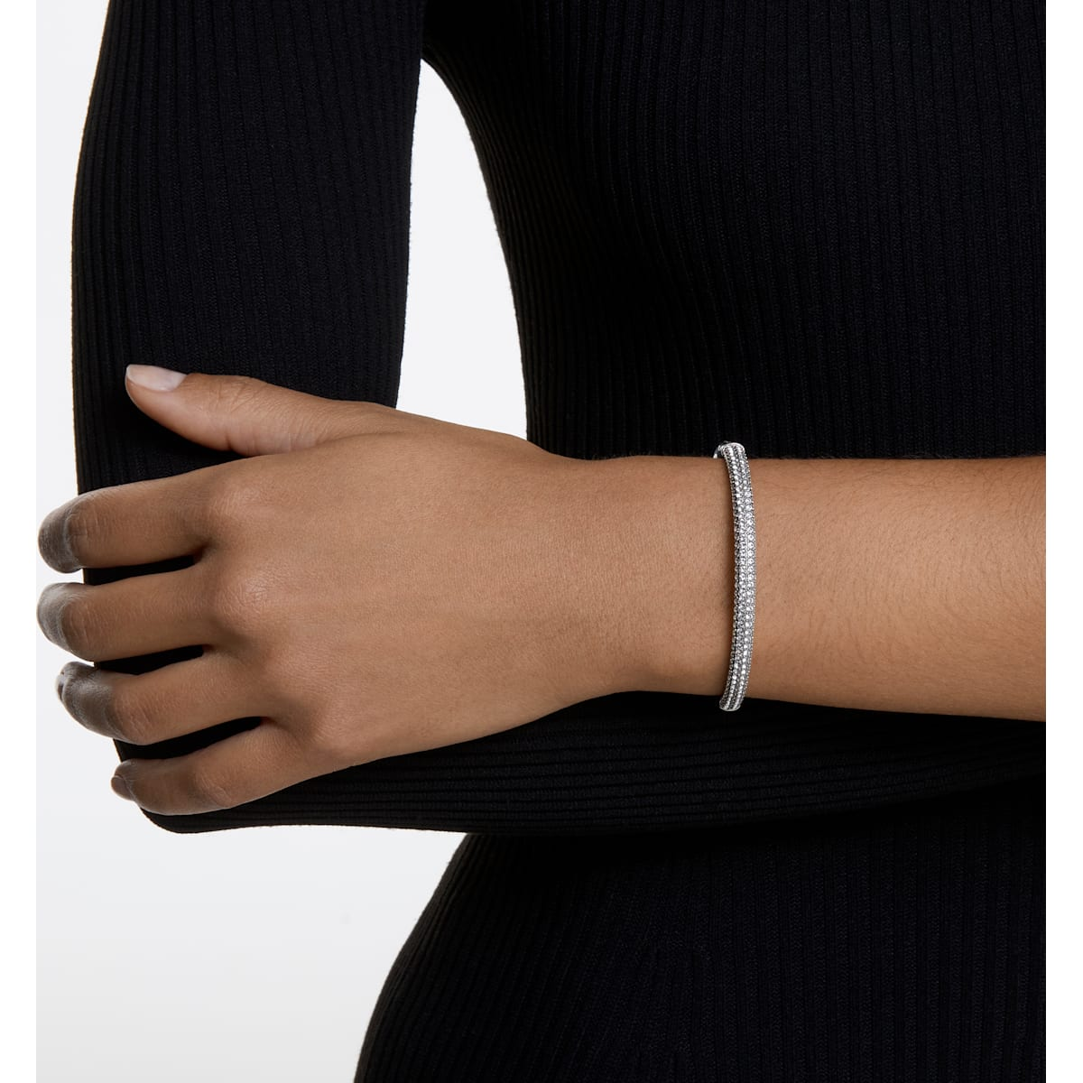 Stone Bangle, White, Rhodium plated exclusively on