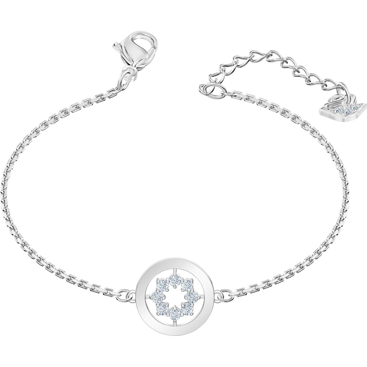 Further Circle Bracelet, White, Rhodium plated Swarovski.com