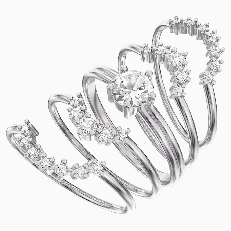 Penélope Cruz Moonsun Ring Set, White, Rhodium plated