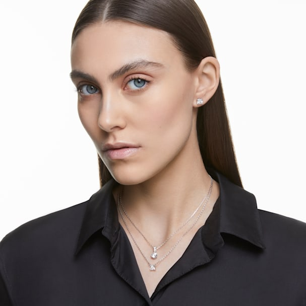Attract Necklace, White, Rhodium plated exclusively on