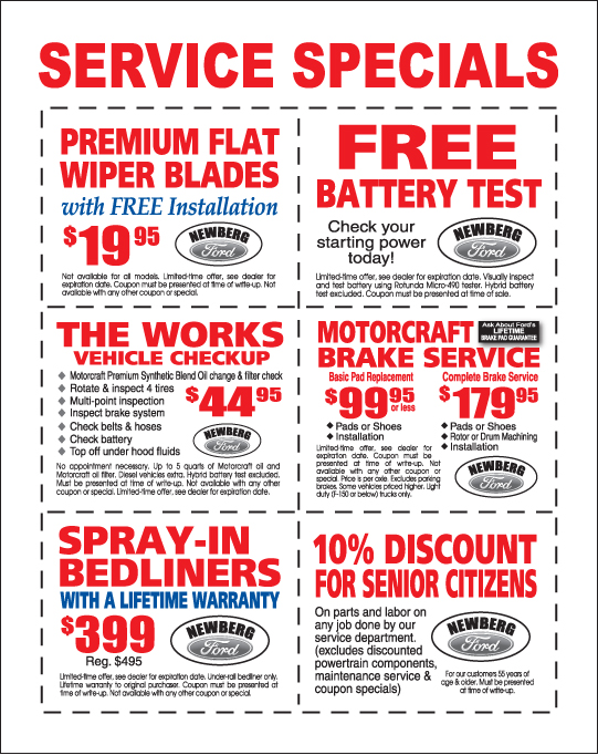 Ford Auto Service Coupons  Newberg, Or Ford Service
