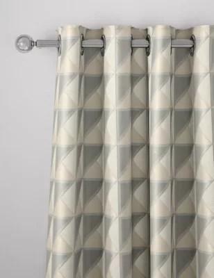 rideaux en coton melange a oeillets et motif geometrique