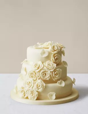 Rose Wedding Cake With White Chocolate Icing Serves 140 150
