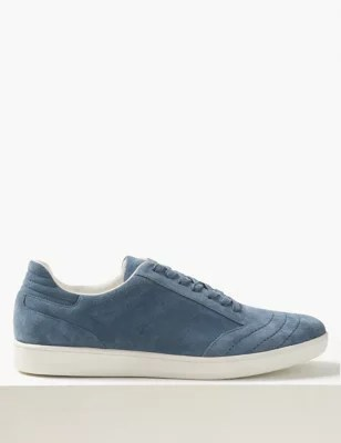 Blue Leather Slip On Shoes
