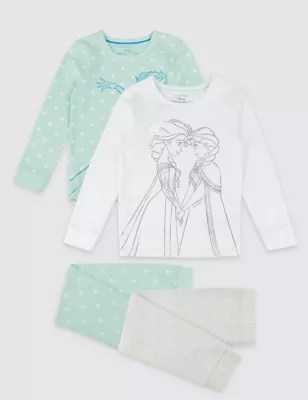 frozen flip sofa canada how to remove water stain from girls pyjamas dressing gowns m s 2 pack disney with stretch 10 years