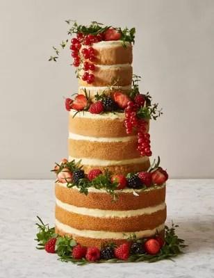 Naked Vanilla Wedding Cake 3 Tiers Serves 42 MampS