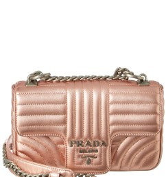 prada diagramme leather shoulder bag in pink [ 864 x 1080 Pixel ]