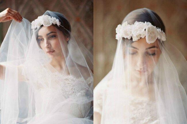 Brautfrisuren mit krone  Mittellange haare