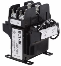 cutler hammer c0150e2afb industrial mte control transformer with primary fuse block 240 480 230 460 220 440 vac primary 120 115 110 v secondary 150 va  [ 1500 x 1500 Pixel ]