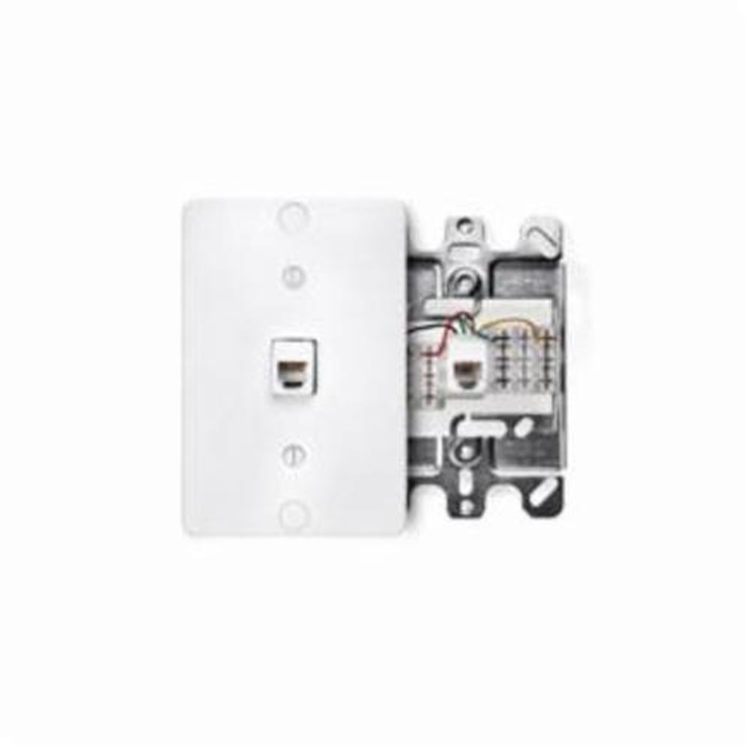 hight resolution of leviton 40253 w 110 style modular quick connect telephone wall phone jack with metal base 1 gang 3 in w plastic wall mount