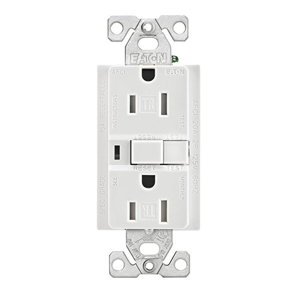 medium resolution of eaton wiring devices trafci15w duplex tamper resistant afci receptacle 125 vac 15 a 2 poles 3 wires white