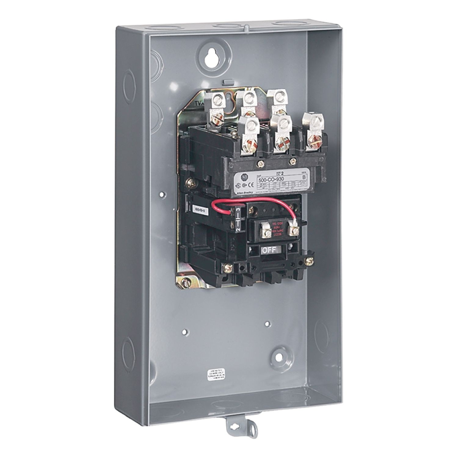 hight resolution of allen bradley 500 tad930 available from rcc nema contactor motor loads top wiring size 00 115 120v 60hz type 1 general purpose hinge enclosure
