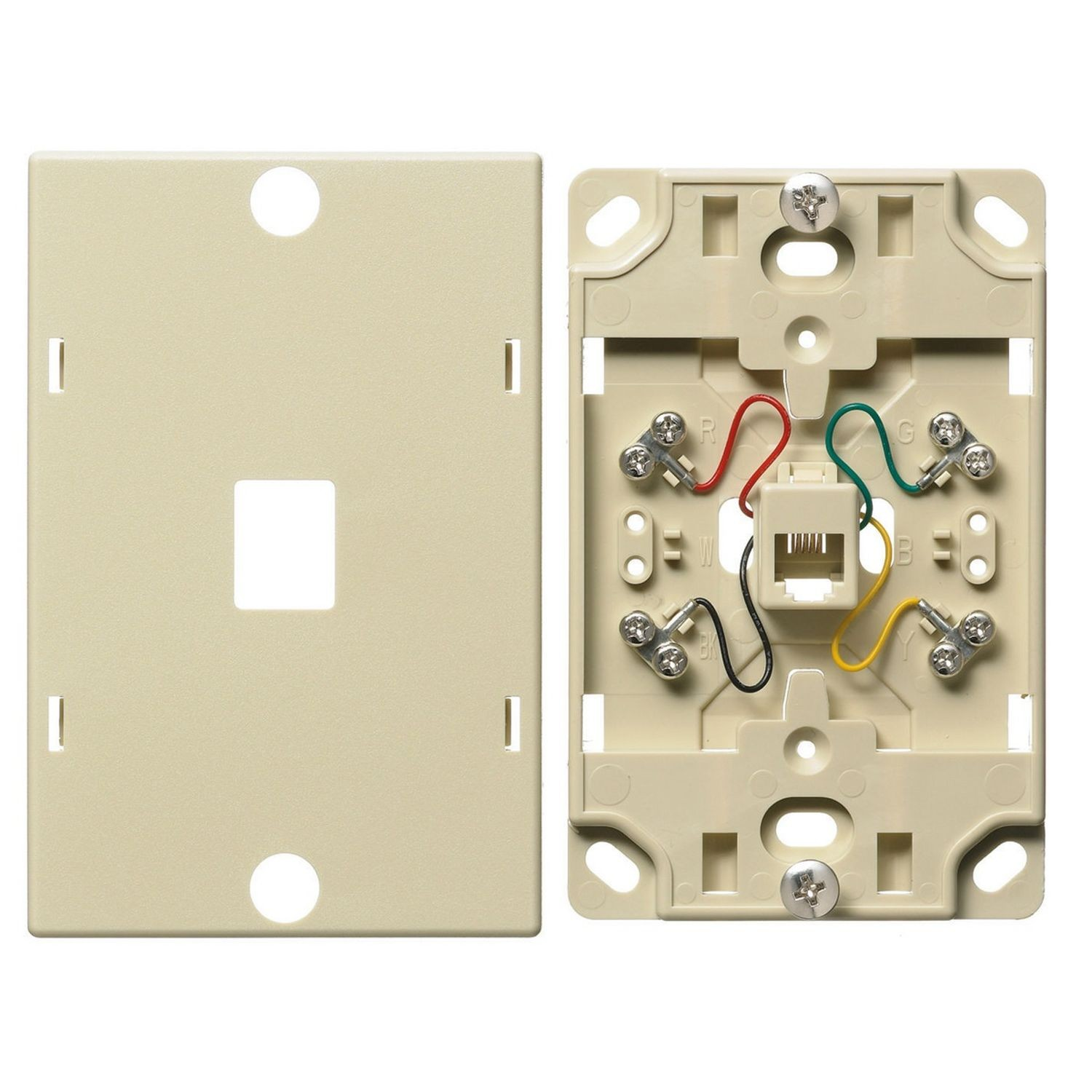 hight resolution of premise wiring netselect ns722i 6 position 4 conductor standard telephone wall jack threaded mount electric ivory state electric