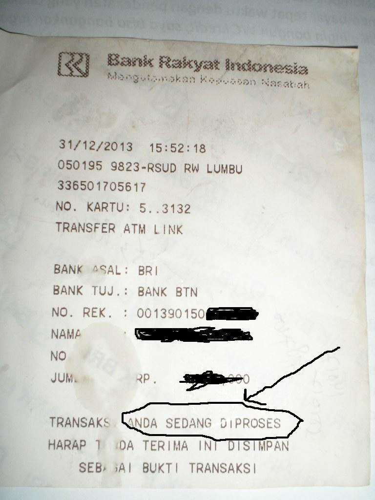 Pengalaman Gagal Transfer di ATM BRI oleh Edy Priyono