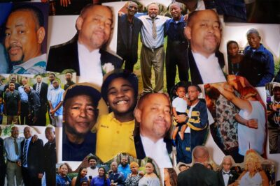 A collage of images of a man and his family.