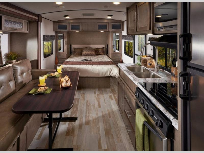 travel trailers with rear kitchen wall units new 2019 forest river rv surveyor 201rbs trailer at ...