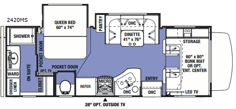 Diagram Of Bunkhouse New 2019 Forest River Rv Sunseeker 2420msf Motor Home