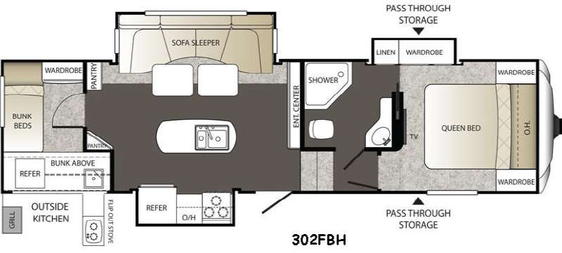 fifth wheel campers with bunkhouse and outdoor kitchen wall decor ideas used 2015 keystone rv outback 302fbh at collier floorplan