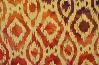 """A printed """"warp ikat"""" fabric from India."""