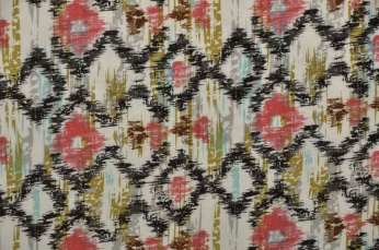 A trendy, printed design influenced by ikat from China.