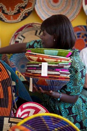 Intricate Ugandan woven baskets.