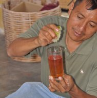 Cochineal dye can be altered towards orange by adding lime juice.