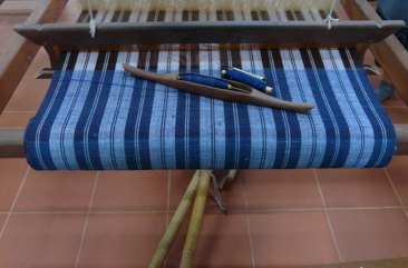 This simple cloth is woven of organic cotton; the blue warp and weft is naturally-dyed indigo.