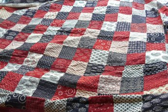 New quilt design using naturally dyed, block printed fabric.