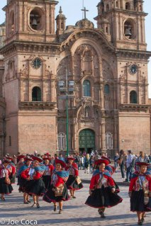 The weavers dance their way to the convention center to the accompaniment of a band. This is the Chinchero community.