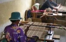 Sahalandy weaver in process of making silk shawl.
