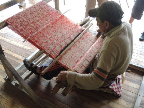Weaving ikat in Ecuador.