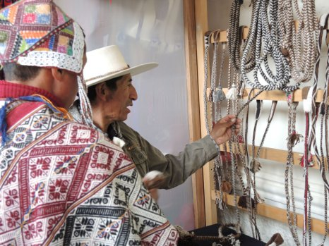 Tisco Caylloma (on right), from Arequipa, Peru, is an expert sling braider.