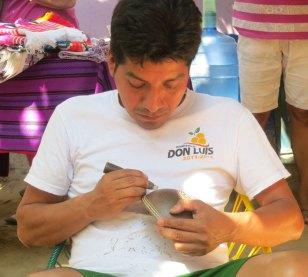 José Avendaño carving gourd bowl.