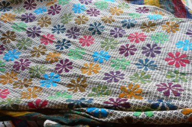 Ramu Devraj Harijan uses traditional woodblock-printed fabric in non-traditional patterns.
