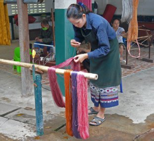 The natural dye and weaving workroom.