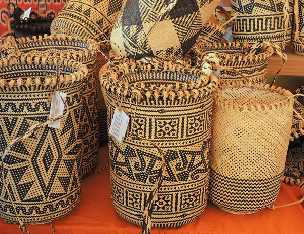 A splendid array of Anjat baskets from Indonesia.