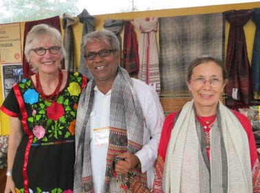 It was Dayalal Kudecha's first market in 2014 and his first time in the U.S. Judy Frater, Founder Director of Somaiya Kala Vidya is on right and I'm on his left.