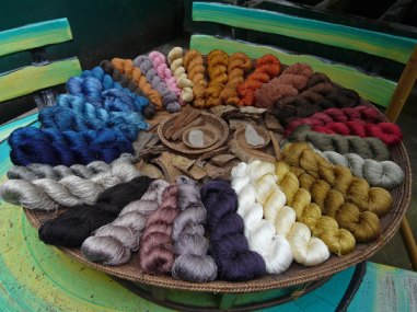 Lustrous silks all natural dyed.