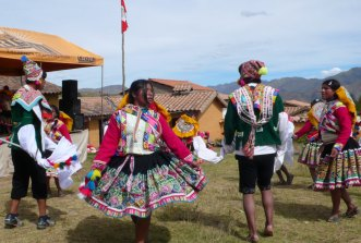 Dancing is an important part of every festival in the Peruvian Highlands. This festival is at the weaving community in Sallac, Peru.