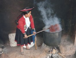 Naturally dyeing cochineal wool in the Chinchero village of Peru.