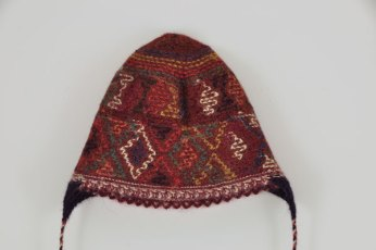 The interior of the hat shows how the colors are knit intarsia style--no long floats.