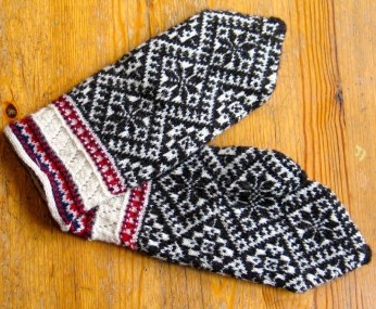 Traditional handknit mittens from Kihnu.