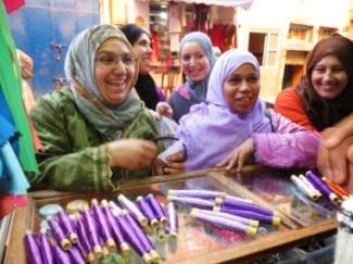 Members of the Women's Cooperative of Khenifra buy spools of sabra at a local store. Photo credit: Christine Carlson-Aljani