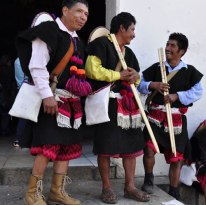 Men dressed in traditional clothing in Tenejapa, Chiapas, Mexico