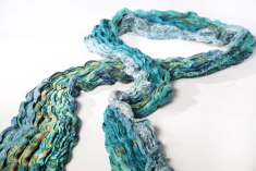 The crinkle scarf is another new upcycled sari collaborative project.