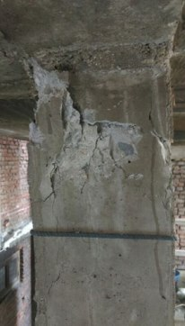 These pillars cracked from the earthquake making unsafe working conditions.